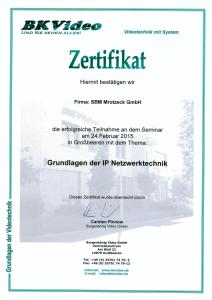 SBM Mrotzeck GmbH Zertifikat - BKVideo_Grundlagen IP Netzwerktechnik