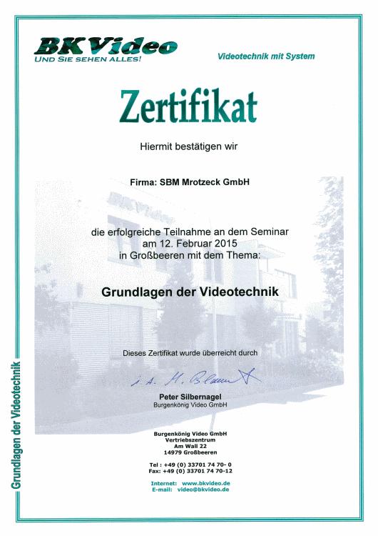 SBM Mrotzeck GmbH Zertifikat - BKVideo_Grundlagen Videotechnik