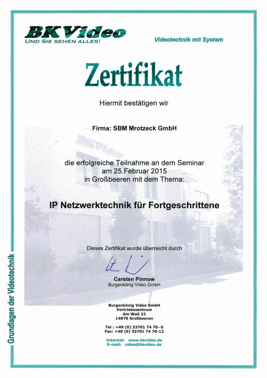 SBM Mrotzeck GmbH Zertifikat - BKVideo_IP Netzwerktechnik Fortgeschrittene