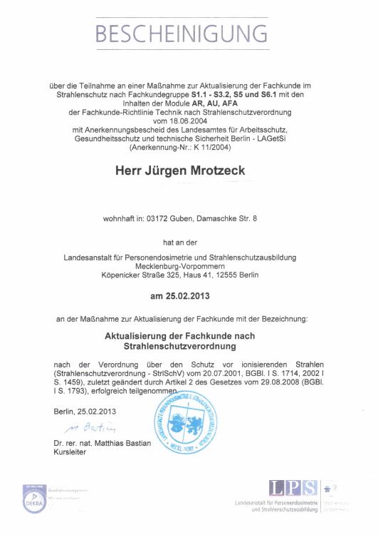 SBM Mrotzeck GmbH Zertifikat - Bescheinigung Strahlenschutz