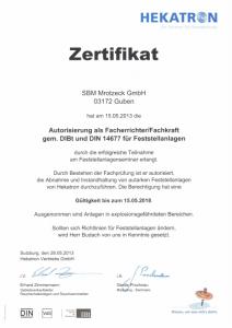SBM Mrotzeck GmbH Zertifikat - DIN 14677