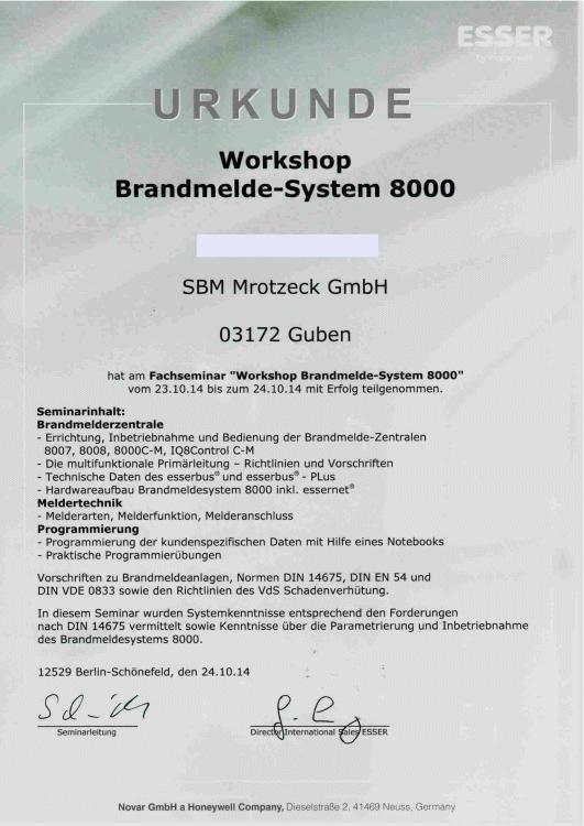 SBM Mrotzeck GmbH Zertifikat - ESSER Brandmelde-System 8000