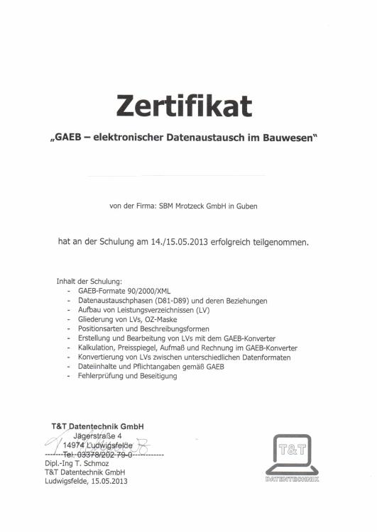SBM Mrotzeck GmbH Zertifikat - GAEB-elektronischer Datenaustausch