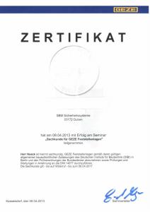 SBM Mrotzeck GmbH Zertifikat - GEZE Feststellanlagen