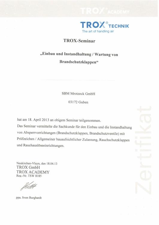 SBM Mrotzeck GmbH Zertifikat - Trox-Brandschutzklappen