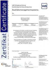SBM Mrotzeck GmbH Zertifikat - DIN EN ISO 9001